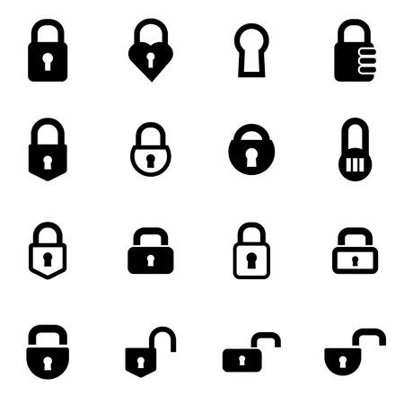 Vector black locks icon set on white background