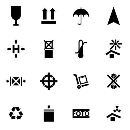marking: Vector black marking of cargo icon set on white background