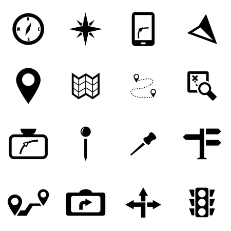 Vector black navigation icon set on white background