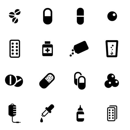 vitamin pills: Vector black pills icon set  on white background Illustration