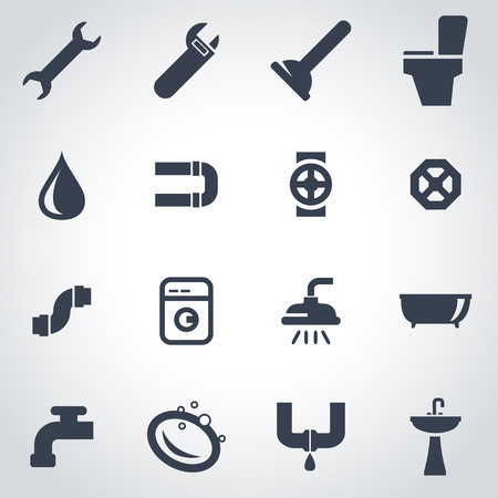 plumbing tools: Vector black plumbing icon set on grey background Illustration