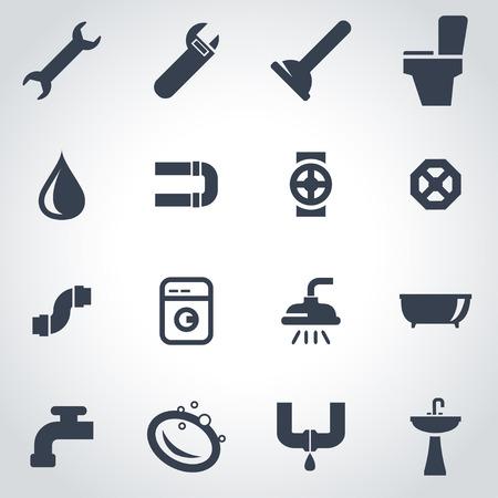 ca�er�as: Vector icono negro plomer�a establece sobre fondo gris