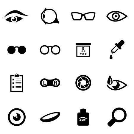 optometry: Vector black optometry icon set on white background