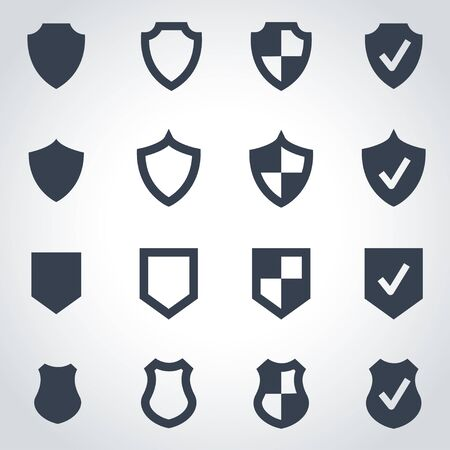 coat of arms  shield: Vector black shield icon set on grey background Illustration