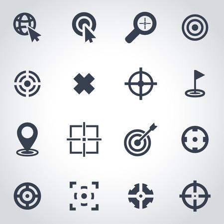 arrow target: Vector black target icon set on grey background Illustration