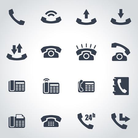telephone icons: Vector black telephone icon set on grey background