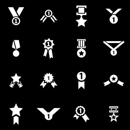 medal: Vector white award medal icon set on black background