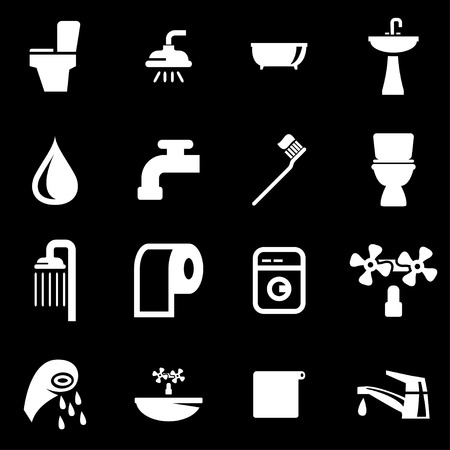 ba�o blanco: Conjunto blanco del icono ba�o fij� en el fondo negro