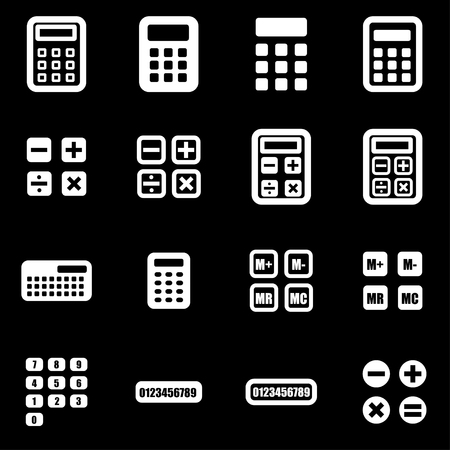 Vector white calculator icon set on black background