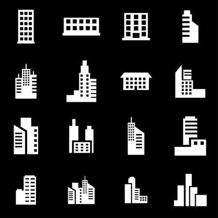 building icon: Vector white building icon set on black background