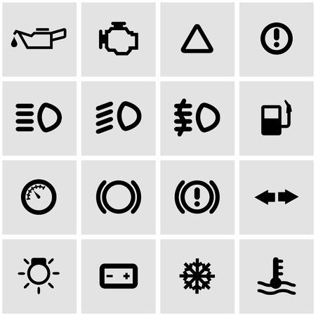 airbag: Vector black car dashboard icon set on grey background