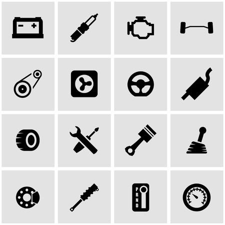 piezas coche: Vector piezas del coche negro conjunto de iconos sobre fondo gris Vectores
