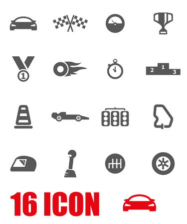 car isolated: Vector grey racing icon set on white background