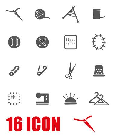 maquinas de coser: Vector gris icono Set de costura en el fondo blanco