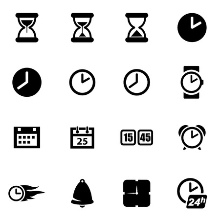Vector black time icon set on white background
