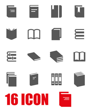 text books: Vector grey book icon set on white background Illustration