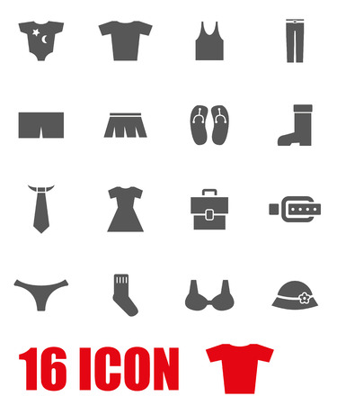 white clothes: Vector grey clothes icon set on white background