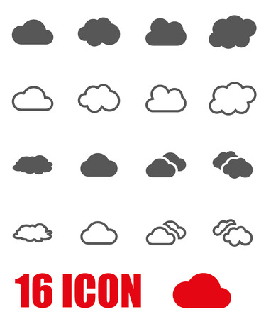 Vector grey cloud icon set on white background