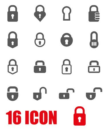 black and white lock: Vector grey locks icon set on white background Illustration
