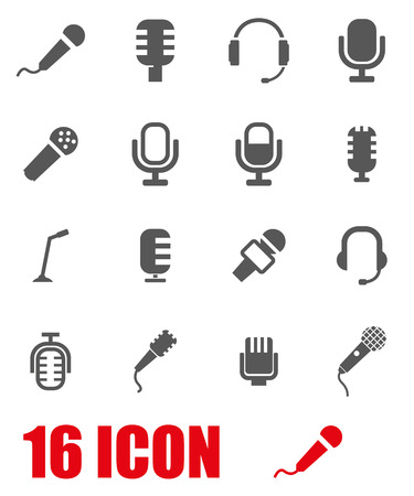 old technology: Vector grey microphone icon set on white background