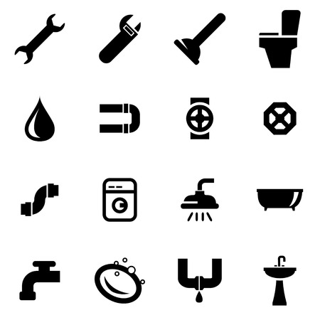 plumbing tools: Vector black plumbing icon set  on white background