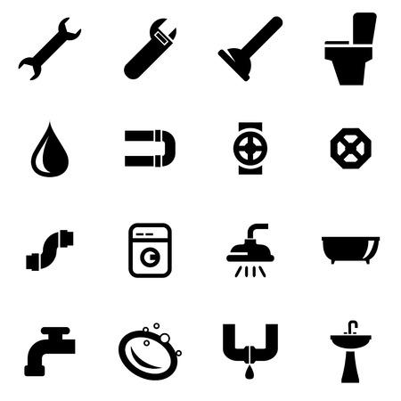 fontaneria: Vector icono negro plomería fijó en el fondo blanco