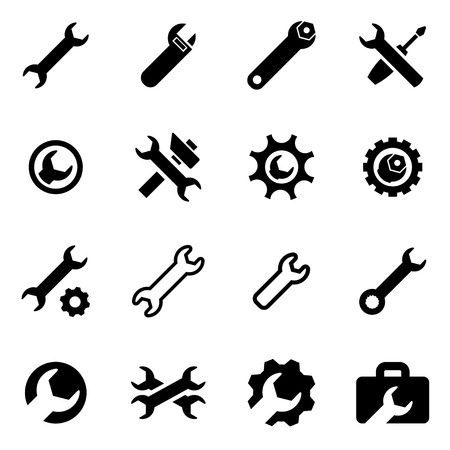 background settings: Vector black settings wrench icon set  on white background