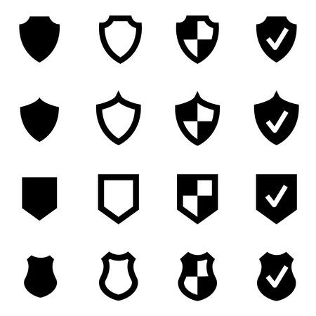 shield: Vector icono de escudo negro situado en el fondo blanco