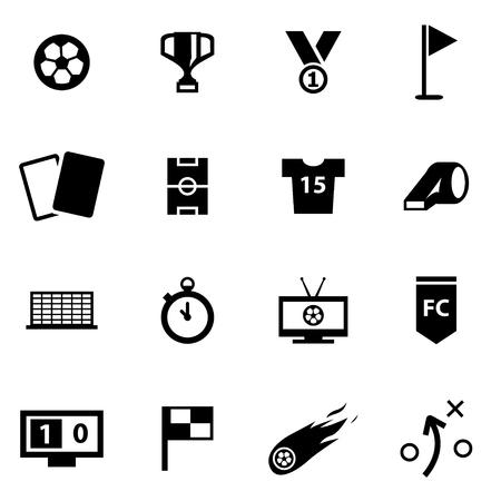 cancha de futbol: Vector icono de fútbol negro ajustado en el fondo blanco