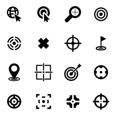 Vector black target icon set  on white background