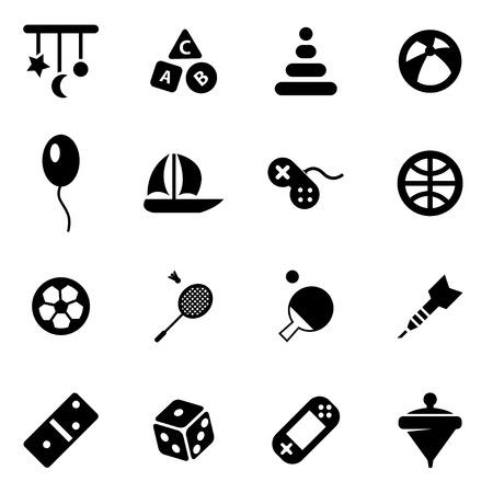 juguetes: Vector juguetes negro conjunto de iconos en el fondo blanco Vectores