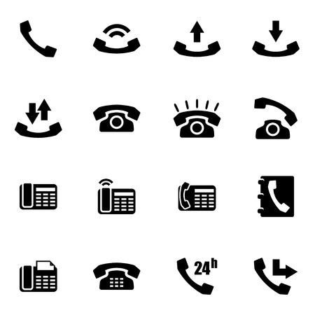 telephone: Vector black telephone icon set on white background