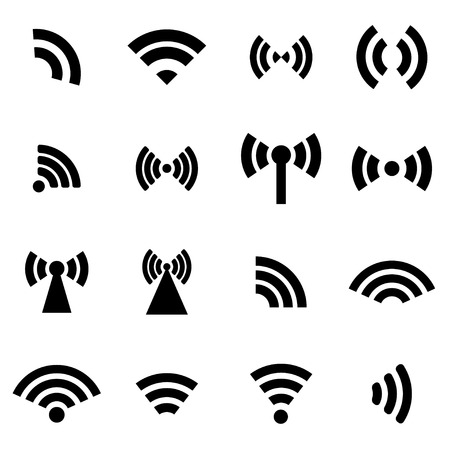 Vector black wireless icons  set on white background Çizim