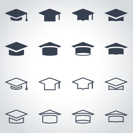 Vector black academic cap icon set on grey background