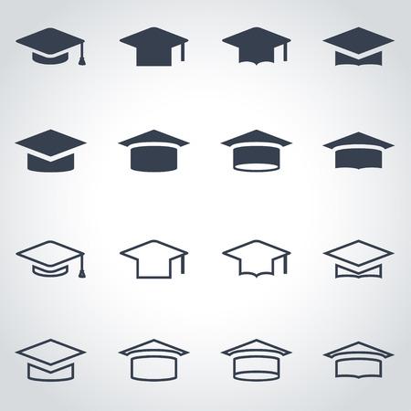 Vector černá ikona akademické čepice set na šedém pozadí
