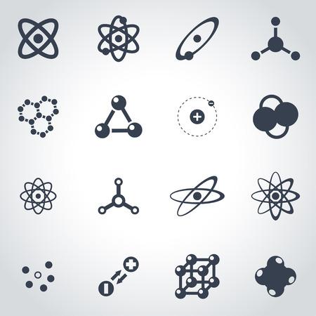 Vector icono de átomo negro establece sobre fondo gris Ilustración de vector