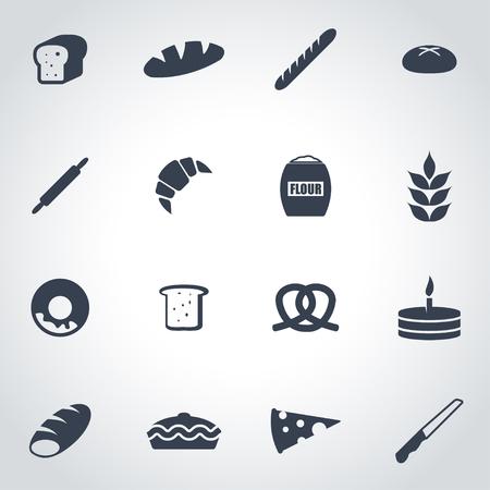bakery: Vector black bakery icon set on grey background Illustration