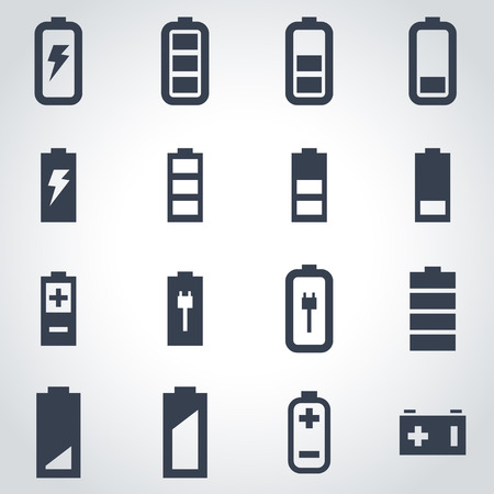 battery charging: Vector black battery icon set on grey background