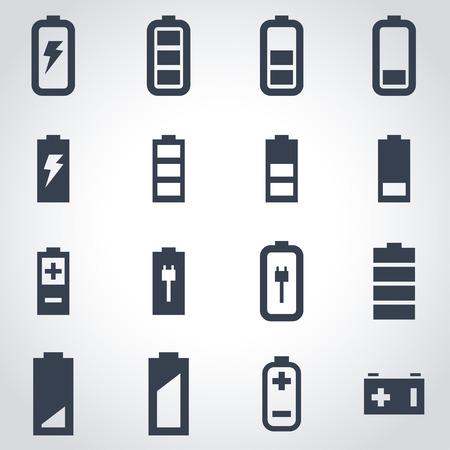 Vector czarny bateria zestaw ikon na szarym tle