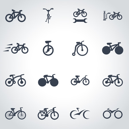 road bike: Vector black bicycle icon set on grey background
