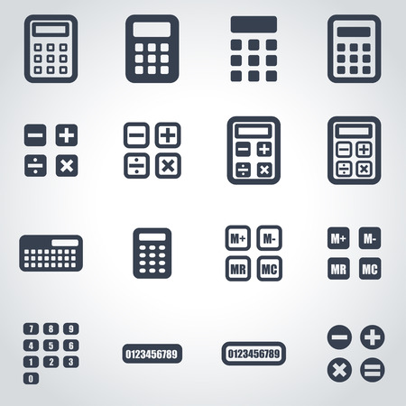 Vector black calculator icon set on grey background