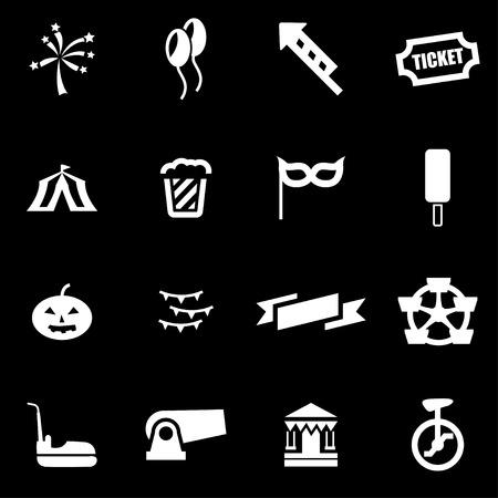 carnival: Vector white carnival icon set on black background