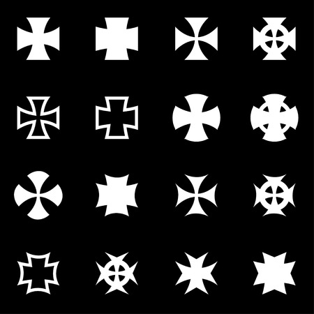 iron cross emblem: Vector white choppers crosses icon set on black background Illustration
