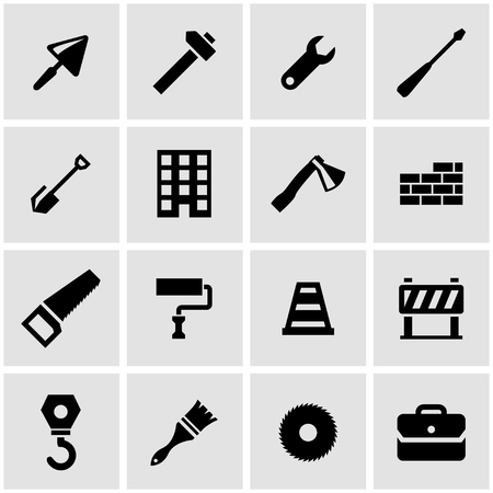 construction industry: Vector black construction icon set on grey background