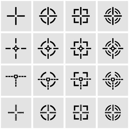 scope: Vector black crosshair icon set on grey background