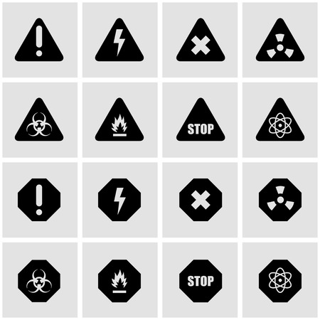 nuclear safety: Vector black danger card icon set on grey background