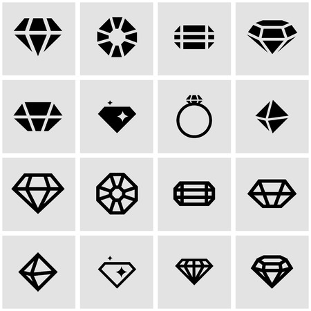 diamond jewelry: Vector black diamond card icon set on grey background