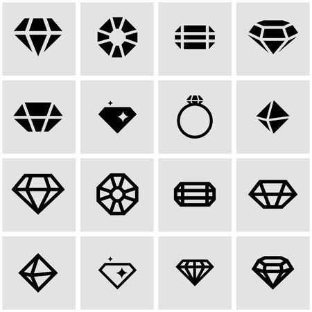 diamante: Vector icono de la tarjeta del diamante negro establece sobre fondo gris