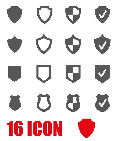escudo: Vector gris icono del escudo situado en el fondo blanco