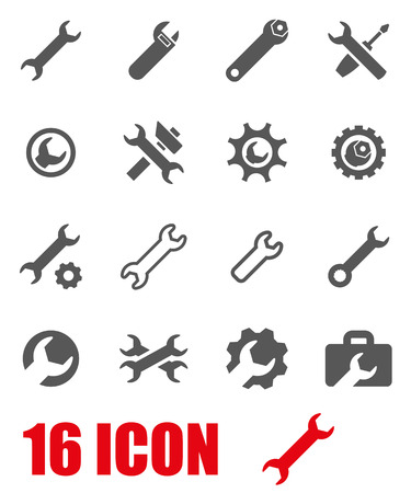 background settings: Vector grey settings wrench icon set  on white background